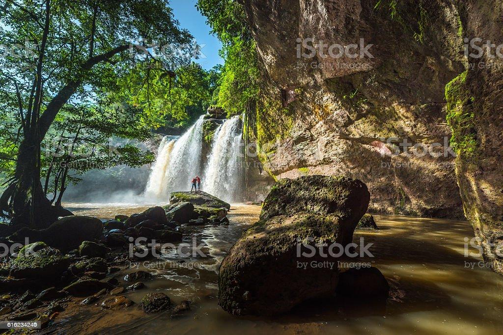 Beautiful Unesco Haew Suwat Waterfall in Khao Yai stock photo