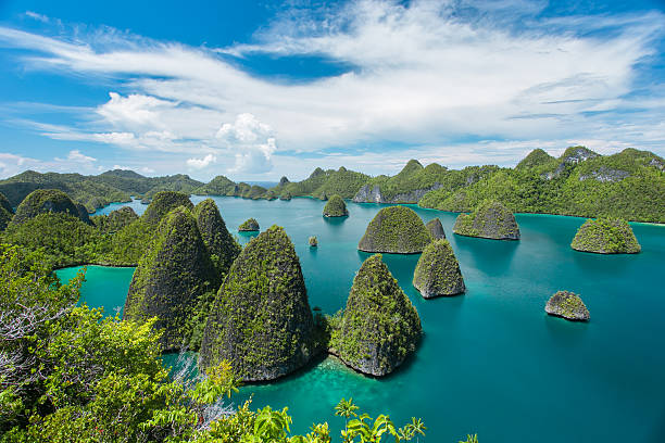 beautiful uninhabited island - indonesia stock photos and pictures