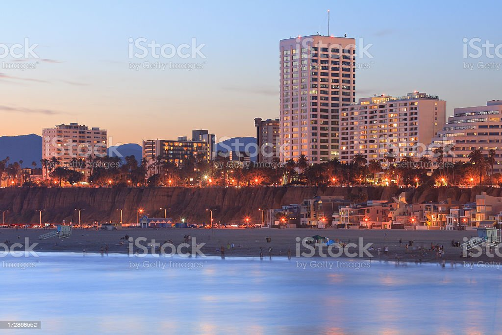 A beautiful urban beach coastal skyline stock photo