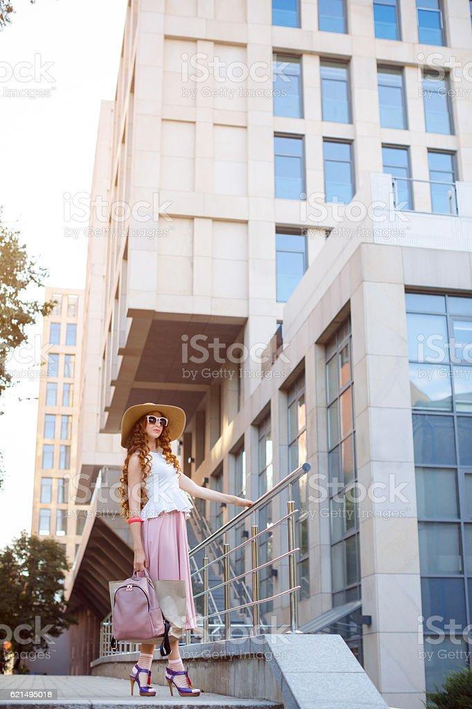 Schöne Stadt Frau und Mädchen Lizenzfreies stock-foto