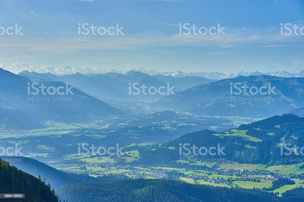 beautiful valleys in the mountains of Austria stock photo