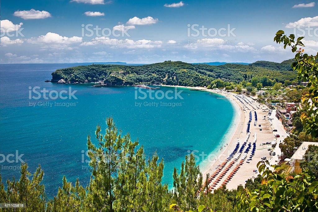 Beautiful Valtos beach near Parga town in Greece. stock photo