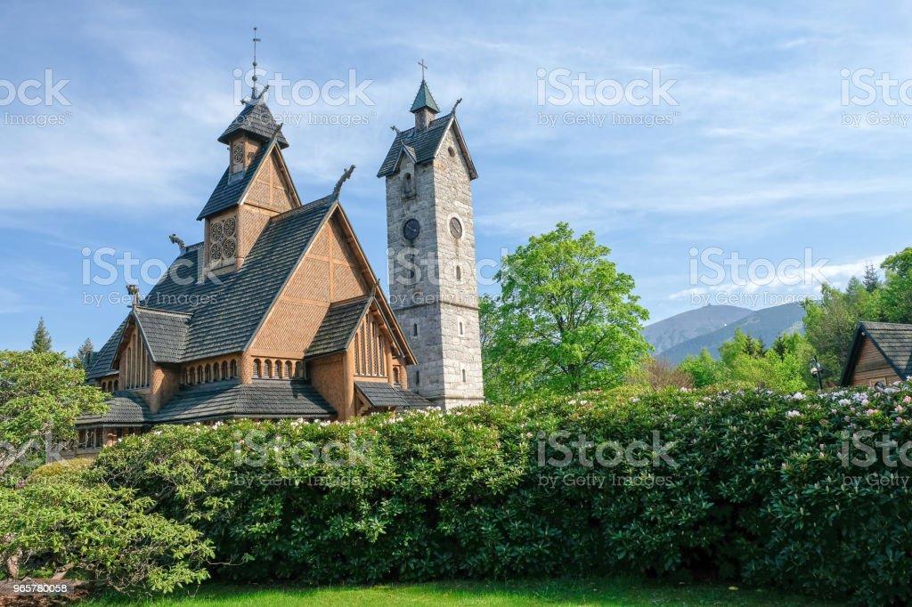 Prachtige staafkerk van de Vang in Karpacz, Polen - Royalty-free Architectuur Stockfoto