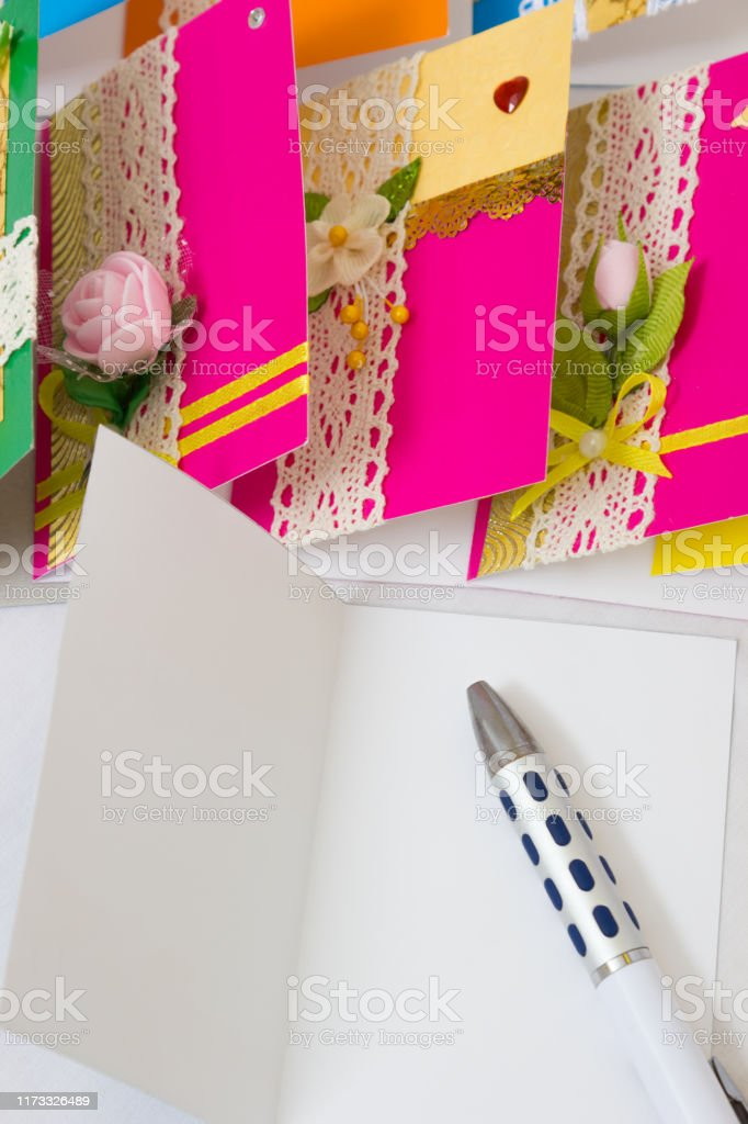 Marvelous Beautiful Varied Handmade Greeting Cards Stock Photo Download Funny Birthday Cards Online Alyptdamsfinfo