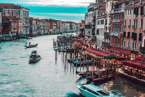 Beautiful Venetian Canal At Dusk, Italy