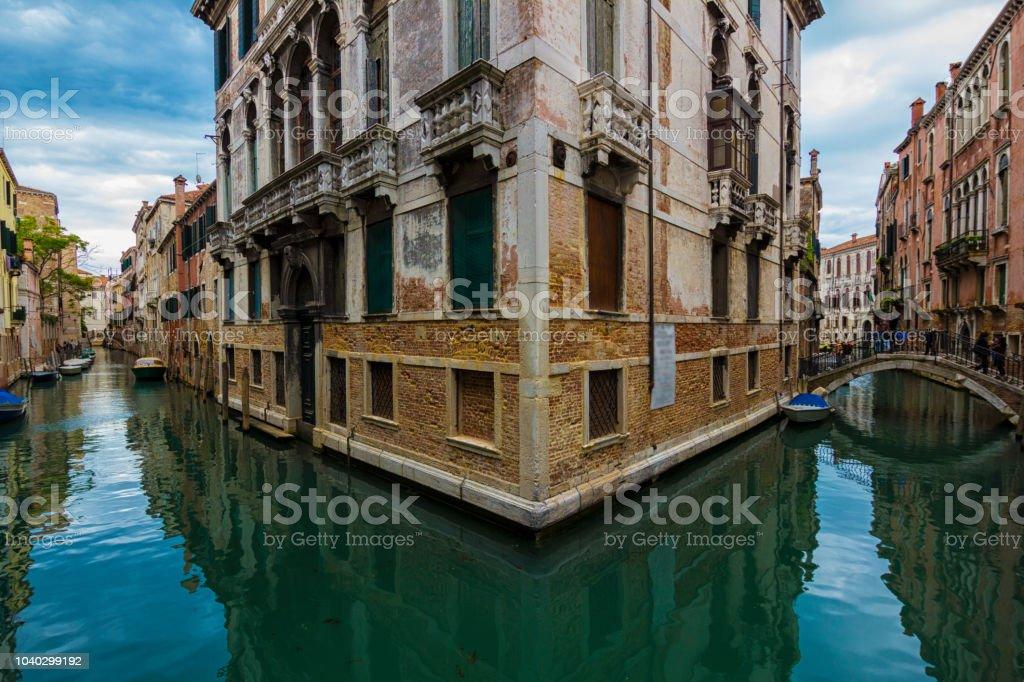Beautiful Venetian street corner on a summer day. stock photo