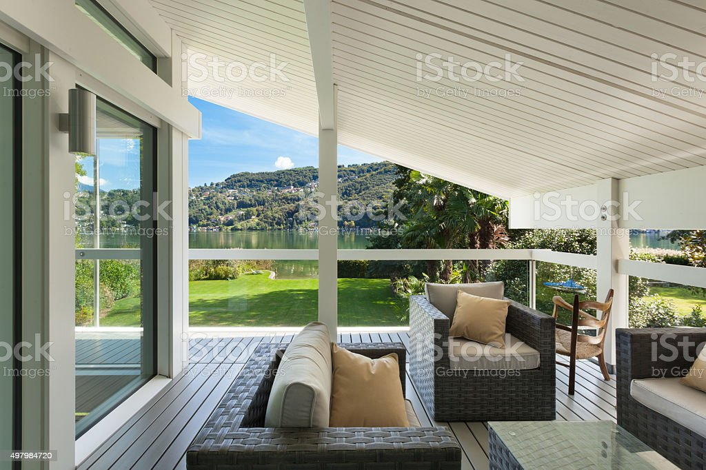 beautiful veranda with furniture stock photo