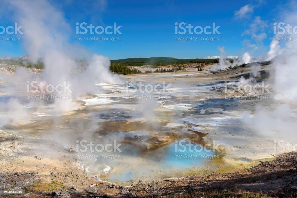 Beautiful Vibrant Geysers in Yellowstone stock photo