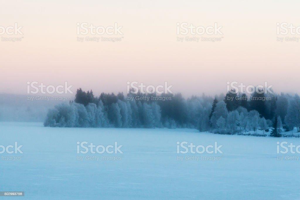 Beautiful vibrant scandinavian foggy winter scene. stock photo