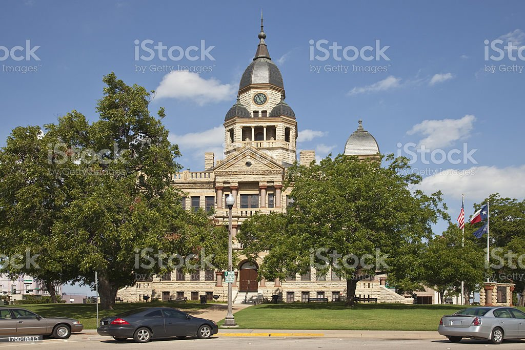 Beautiful Victorian Architecture of County Courthouse at Denton Texas stock photo