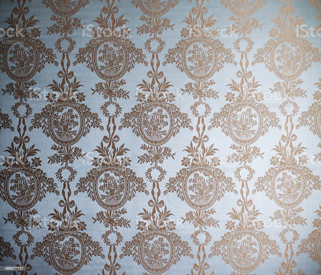 Beautiful Victorian wallpaper bathed in sunlight stock photo