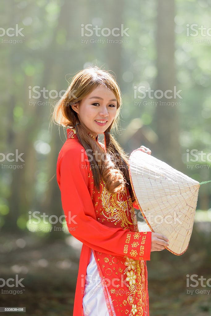 Beautiful vietnamese girl stock photo