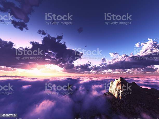 Photo of beautiful view above clouds