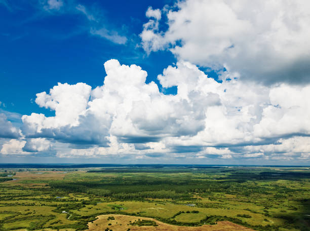 Beautiful view above the earth on landmark down. stock photo