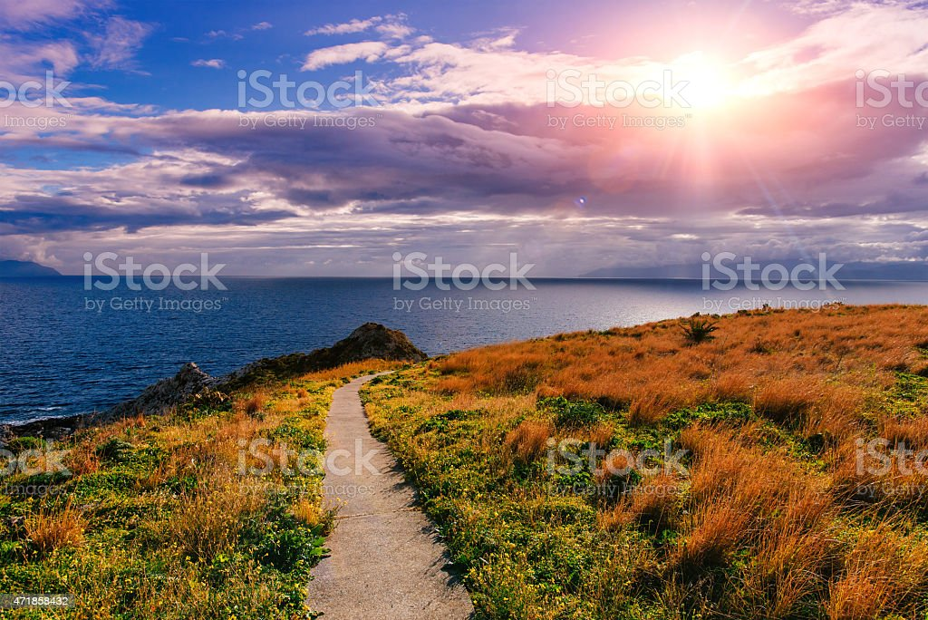 Beautiful view along the Cape Milazzo. stock photo