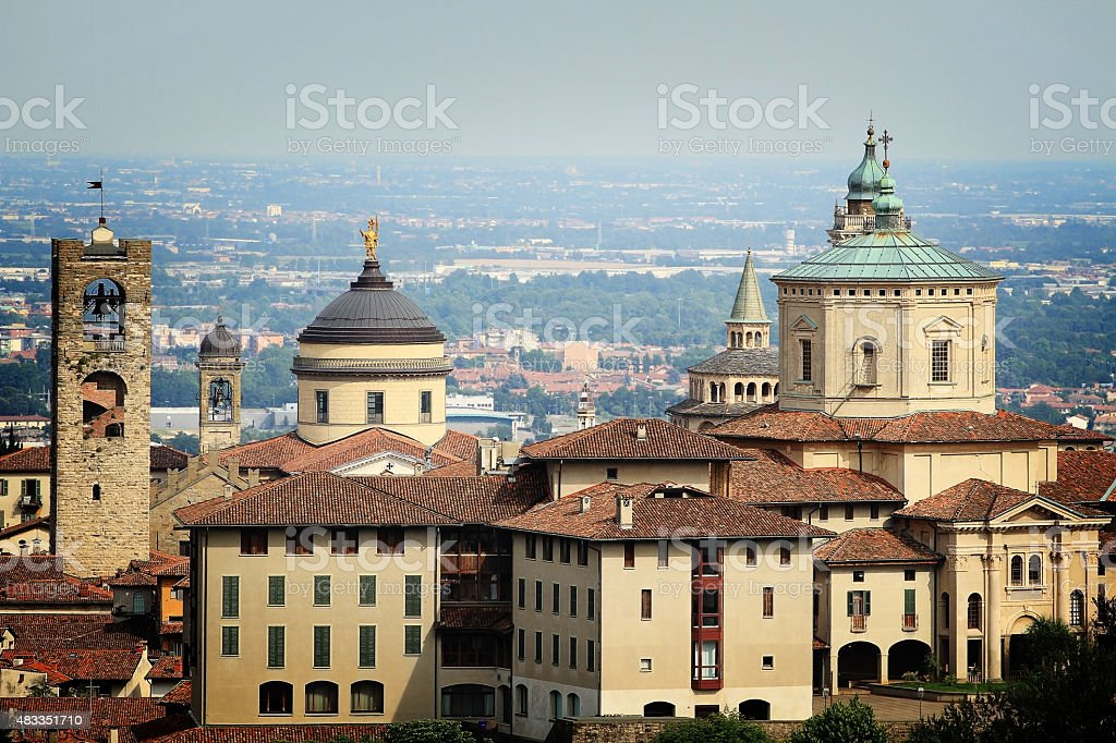 Beautiful view at buildings in Bergamo, Italy stock photo