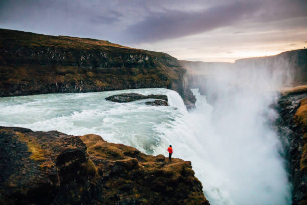 Beautiful view at Icelandic Gullfoss waterfall Beautiful view at Icelandic Gullfoss waterfall ravine stock pictures, royalty-free photos & images