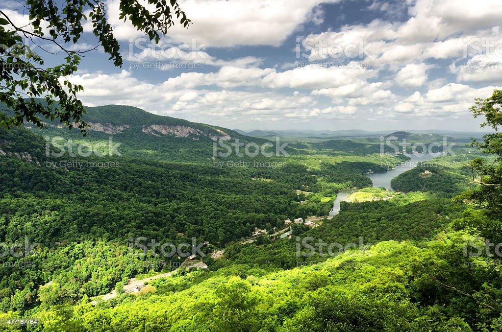 Beautiful view at Lake Lure from high point, North Carolina stock photo