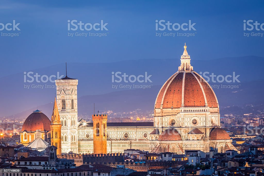 Beautiful view at sunset on the Santa Maria del Fiore stock photo