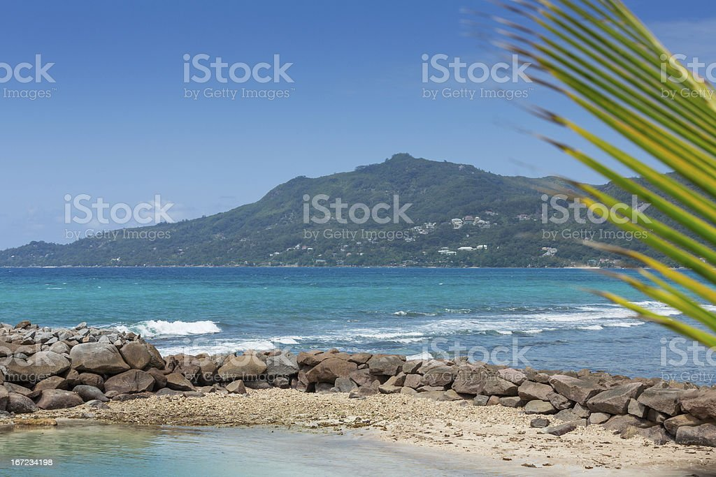 Beautiful view at the hill, blue sea and sky royalty-free stock photo