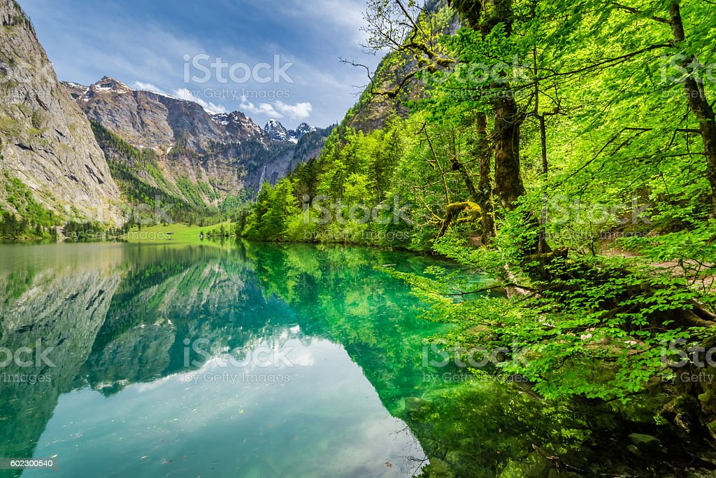 Beautiful view for green mountain lake in Alps, Germany stock photo