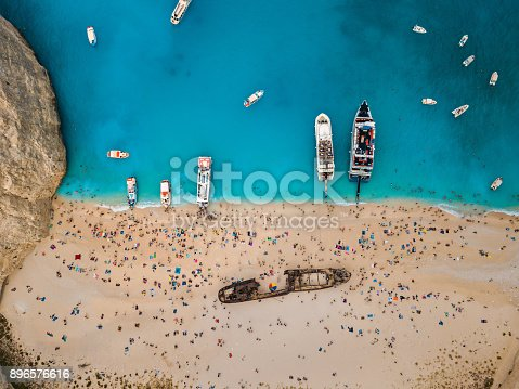 490314373 istock photo Beautiful view from above with the drone at the well known Navagio Shipwreck beach 896576616