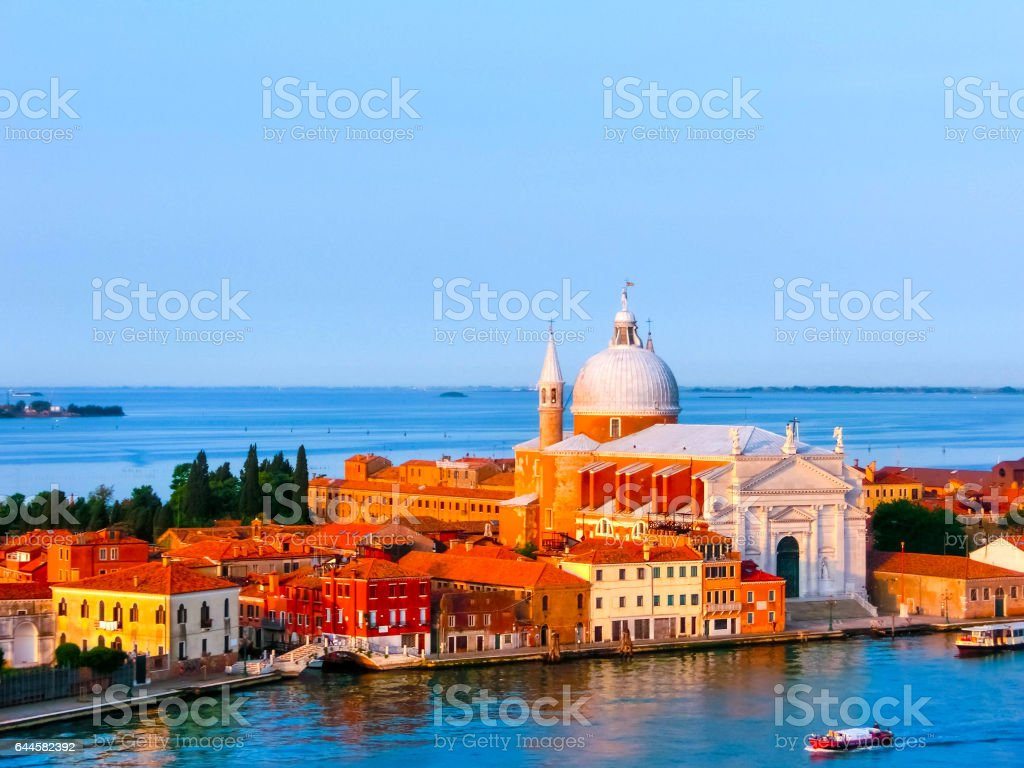 Beautiful view from Grand Canal on colorful facades of old houses in Venice stock photo