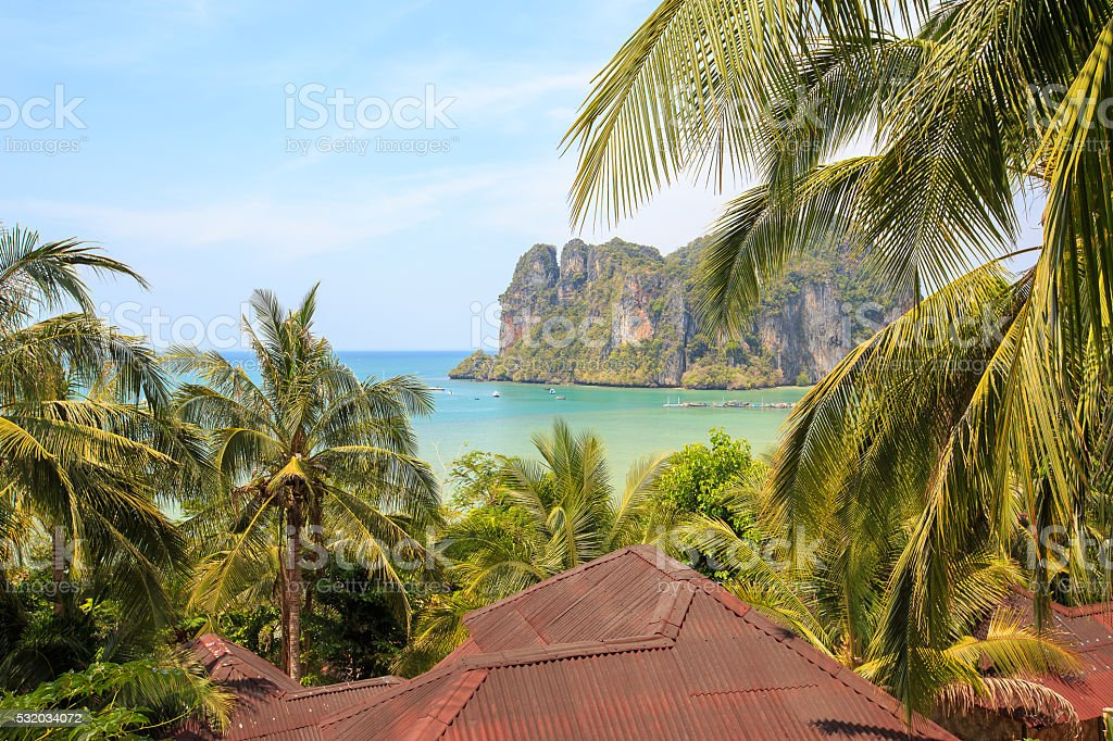Beautiful view from the bungalows on the palm trees stock photo