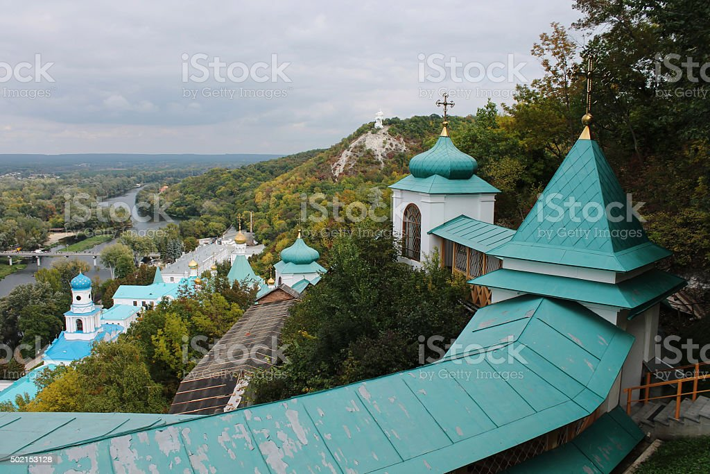 Beautiful view from the mountains to Church Monastery stock photo