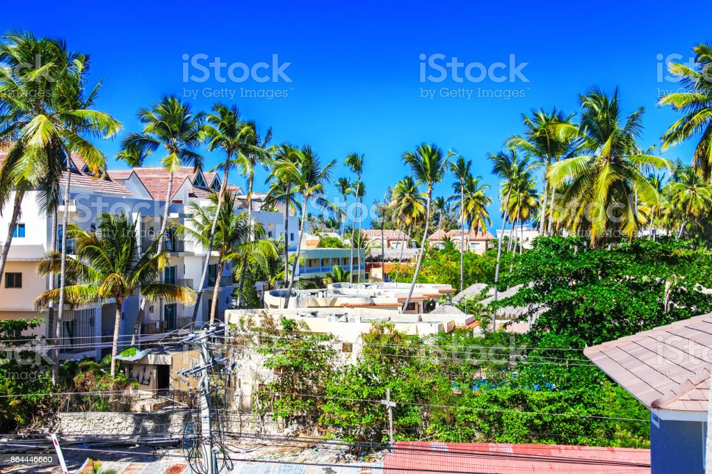 Beautiful view from the roof in Bavaro, Punta Cana, Dominican Republic stock photo