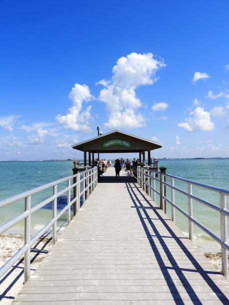 Beautiful View from the Sanibel City Pier Florida stock photo