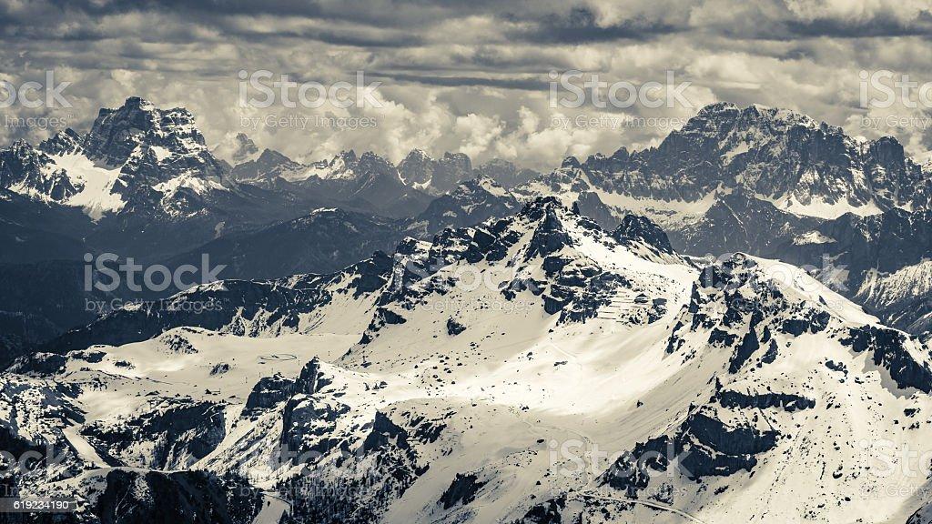 Beautiful view from the top of Sass Pordoi, Dolomites, Italy stock photo