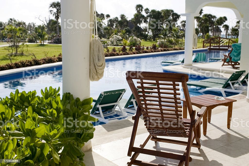 Beautiful View from Tropical Resort Pool Deck, Nobody royalty-free stock photo