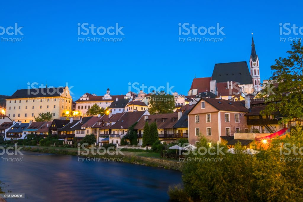 Beautiful view in Cesky Krumlov in twilght, Czech republic stock photo