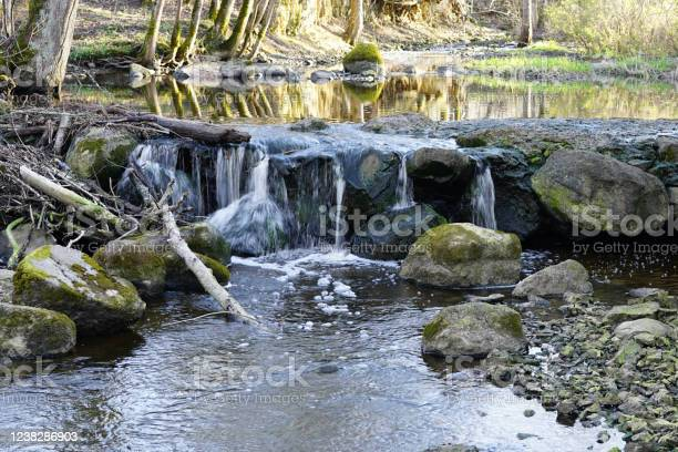 Photo of beautiful view in spring of a waterfall in a small river