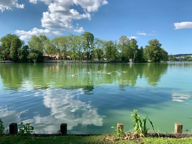A beautiful view of a lake in Paris. stock photo