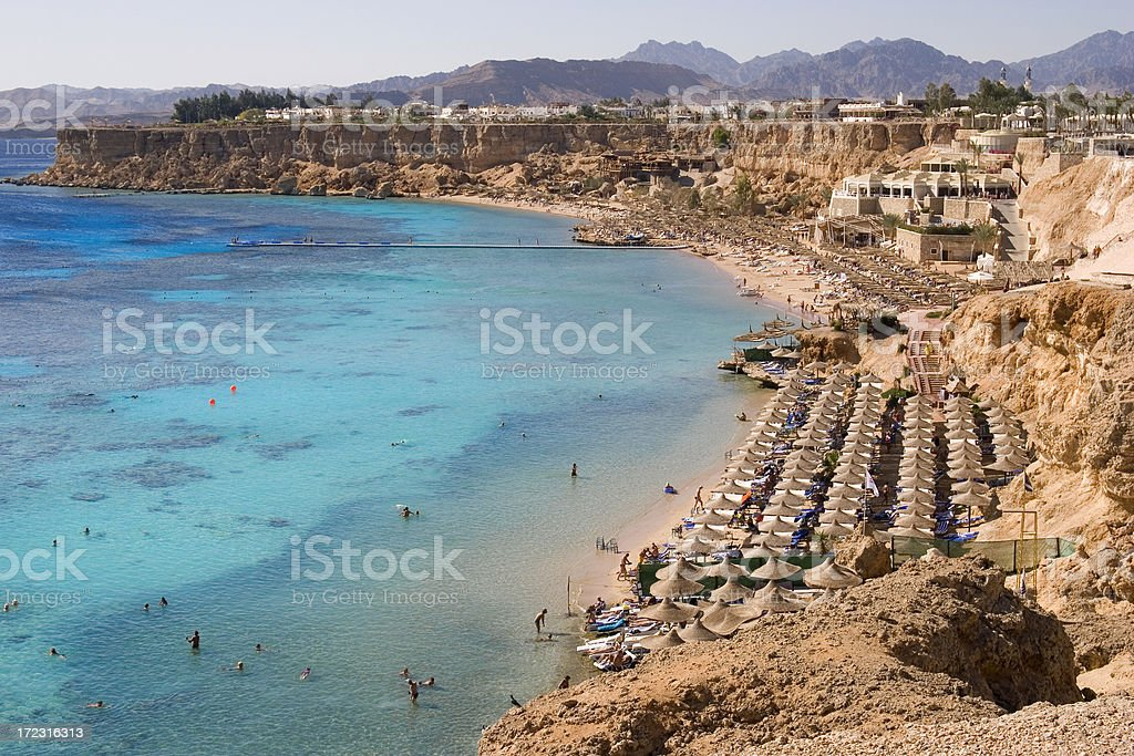 Beautiful view of a Red Sea beach resort stock photo