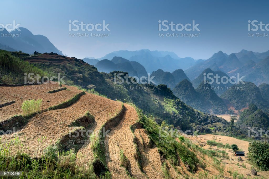 Beautiful view of a small village of ethnic minority people in the Ha Giang rocky plateau, Vietnam stock photo