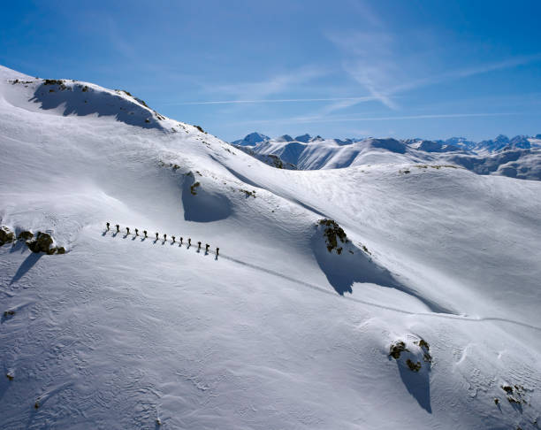 Beautiful view of a snow covered mountain stock photo