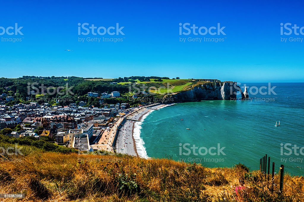 Beautiful view of Alabaster Coast in Normandy stock photo