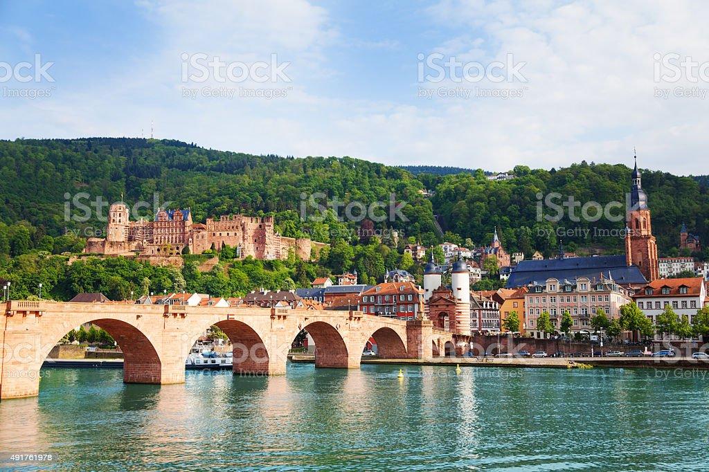 Beautiful view of Alte Brucke bridge and castle stock photo
