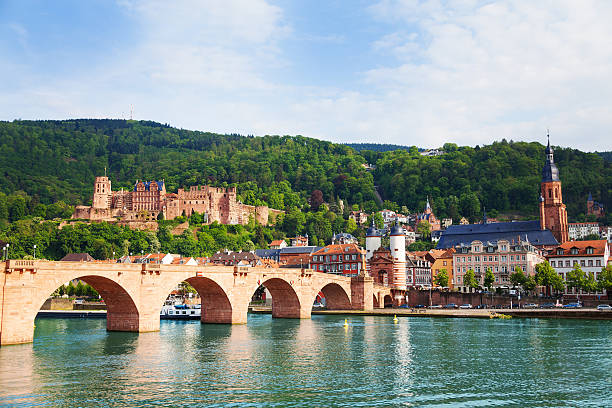 Beautiful view of Alte Brucke bridge and castle stock photo
