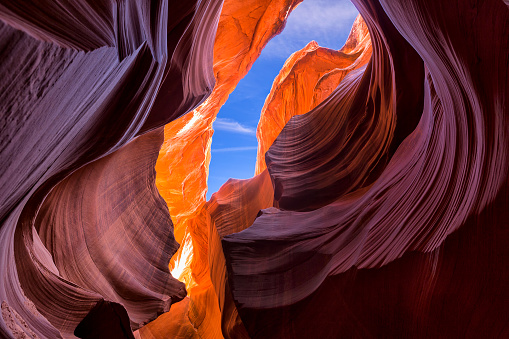 Beautiful wide angle view of amazing sandstone formations in famous Lower Antelope Canyon near the historic town of Page at Lake Powell, American Southwest, Arizona, USA
