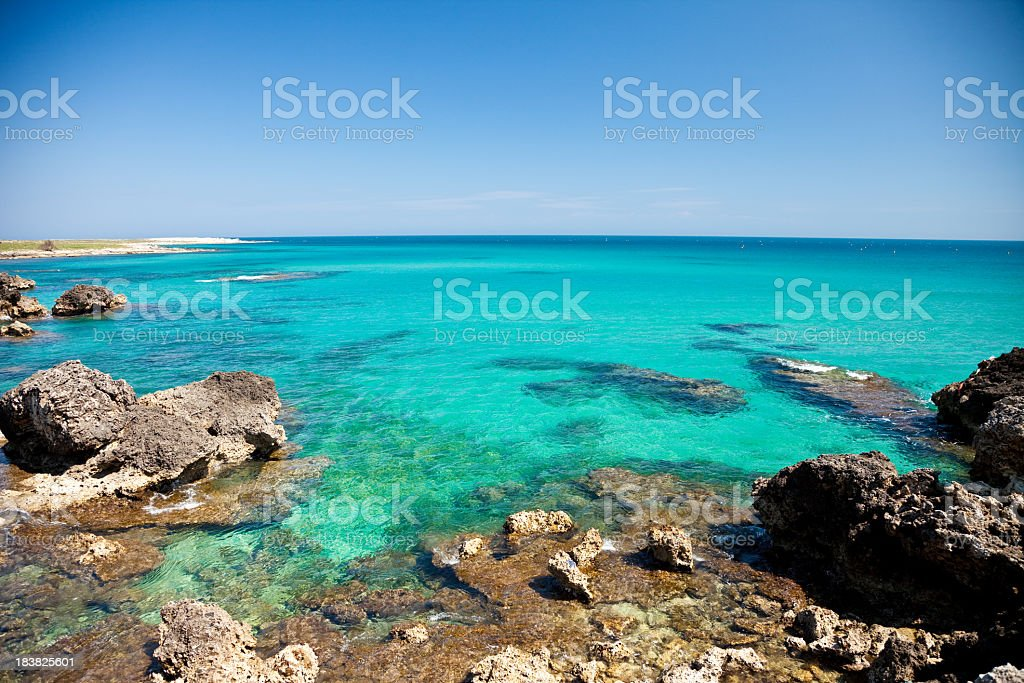 Beautiful view of Baia delle Orte in Otranto in Apulia Italy stock photo