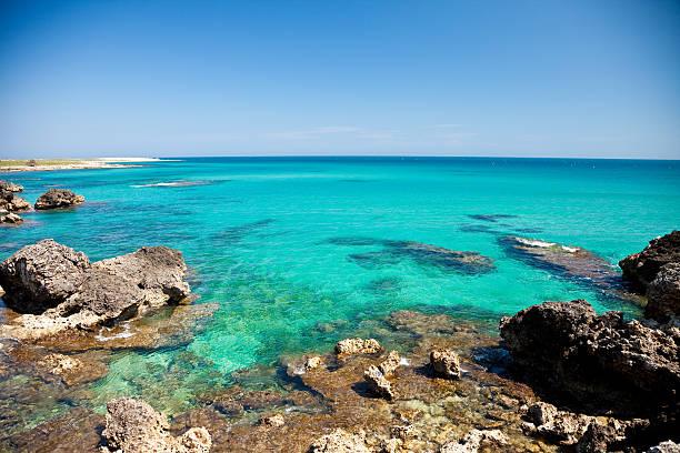 Beautiful view of Baia delle Orte in Otranto in Apulia Italy stock photo