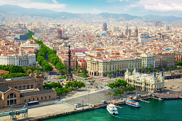 Beautiful view of Barcelona from the river side stock photo