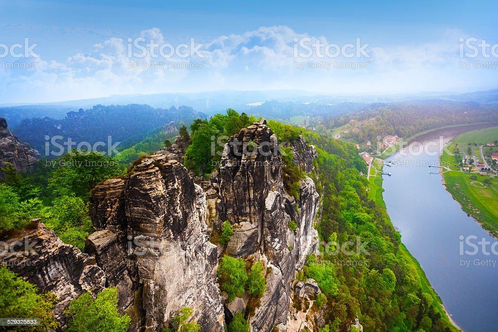 Beautiful view of Bastei rocks, Sachsische Schweiz stock photo