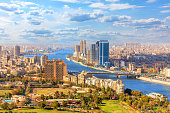 Beautiful view of Cairo and the Nile from above, Egypt.
