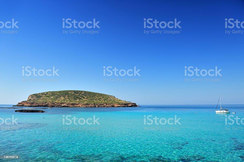 Beautiful view of Cala Conta, Ibiza Spain royalty-free stock photo