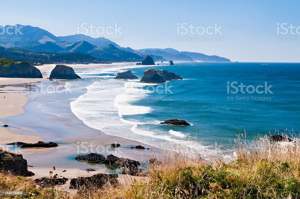 Beautiful view of Cannon beach in the Oregon coast stock photo